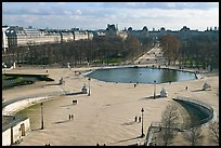 Tuileries garden in winter from above. Paris, France