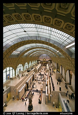 Vaulted ceiling and main room of the Musee d'Orsay. Paris, France (color)
