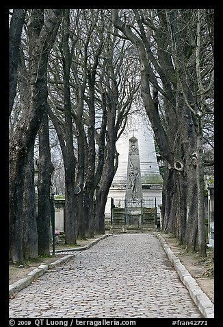 Trees and memorial, Pere Lachaise cemetery. Paris, France (color)