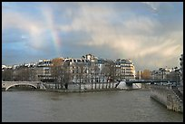 Clearing storm with rainbow above Saint Louis Island. Paris, France (color)
