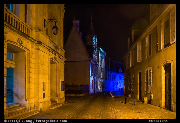 Projection on Palais Jacques Coeur and blue light in the streets. Bourges, Berry, France (color)