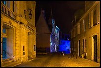 Projection on Palais Jacques Coeur and blue light in the streets. Bourges, Berry, France ( color)