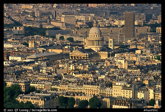 The Quartier Latin seen from the Montparnasse Tower, late afternoon. Quartier Latin, Paris, France (color)