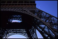 Base of Tour Eiffel (Eiffel Tower) with moon. Paris, France ( color)