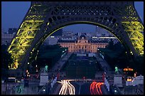 Ecole Militaire (Military Academy) seen through Tour Eiffel  at dusk. Paris, France ( color)