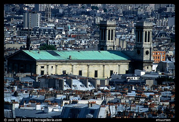 Saint Vincent de Paul  church and rooftops seen from Montmartre. Paris, France (color)