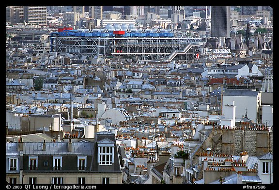 Rooftops and Centre Beaubourg seen from Montmartre. Paris, France (color)