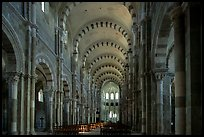 Nave of the Romanesque church of Vezelay. Burgundy, France ( color)