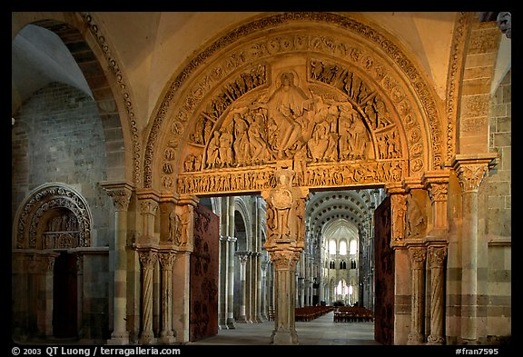 Sculpted doors and typhanum inside the Romanesque church of Vezelay. Burgundy, France (color)