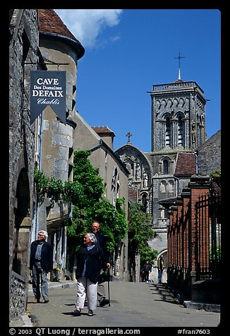 Main street of the Hill of Vezelay with the church in the background. Burgundy, France (color)