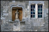 Statue and window, Fontenay Abbey. Burgundy, France ( color)