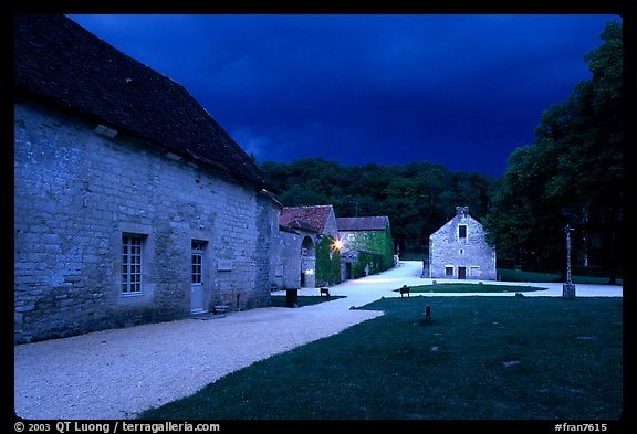 Gardens, approaching evening storm, Fontenay Abbey. Burgundy, France (color)