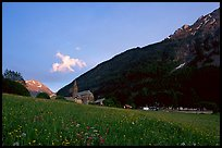 Meadow, Villar d'Arene village, ridge, sunset. France (color)
