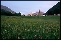 Meadow, Villar d'Arene village,  sunset. France (color)