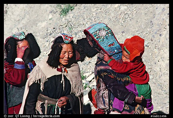 Elderly women with turquoise-covered head adornments, Zanskar, Jammu and Kashmir. India (color)