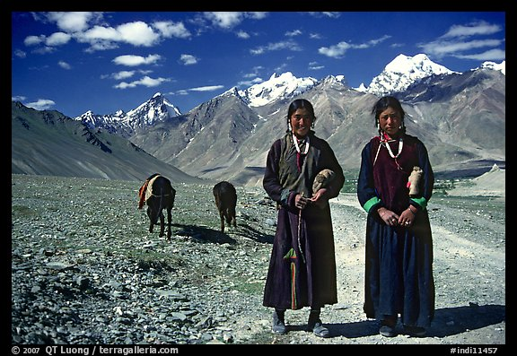 Women on trail near Padum, Zanskar, Jammu and Kashmir. India (color)
