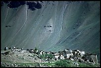 Village and scree slope, Zanskar, Jammu and Kashmir. India (color)