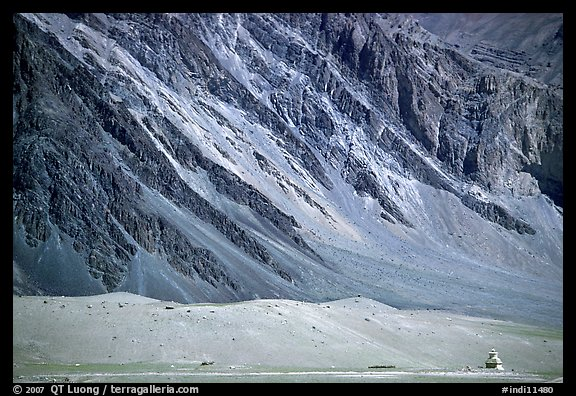 Chorten and mountain slopes, Zanskar, Jammu and Kashmir. India (color)
