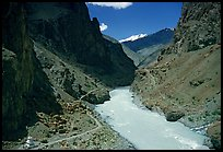 Chorten, trail,  and river valley, Zanskar, Jammu and Kashmir. India (color)