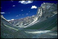 Zanskar Valley flanked by Gumburanjan monolith, Zanskar, Jammu and Kashmir. India (color)