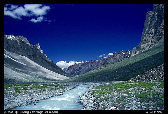 Zanskar River flanked by high cliff, Zanskar, Jammu and Kashmir. India (color)