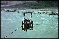 Trekker crossing a river by cable, Zanskar, Jammu and Kashmir. India (color)