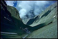 Valley with high cliffs and clouds, Zanskar, Jammu and Kashmir. India (color)