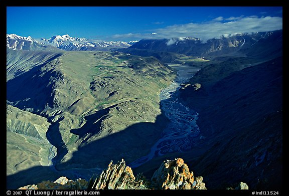 Braided river and mountain range seen from high pass, Himachal Pradesh. India (color)