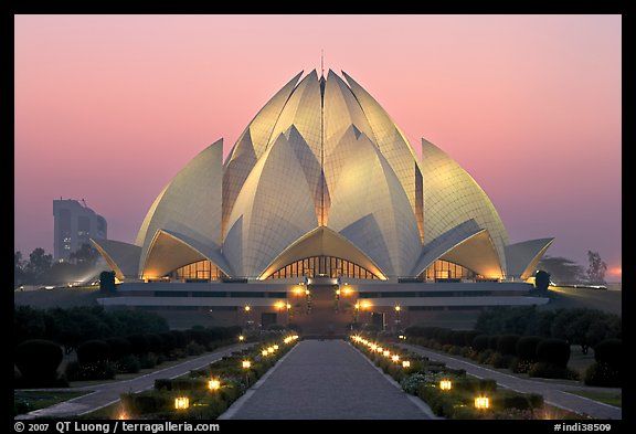 Lotus-shaped Bahai temple at twilight. New Delhi, India (color)