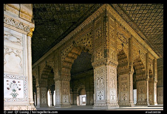 Columns and arches, Royal Baths, Red Fort. New Delhi, India (color)