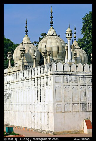 Moti Masjid (Pearl Mosque), enclosed between walls aligned with the rest of the Red Fort. New Delhi, India (color)