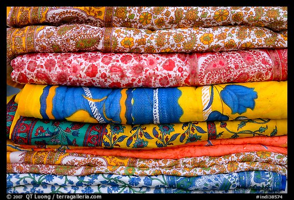 Fabrics for sale, Covered Bazar, Red Fort. New Delhi, India (color)