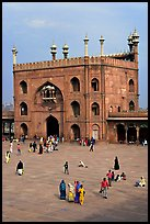 Courtyard and East gate of Jama Masjid mosque. New Delhi, India ( color)