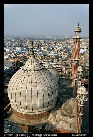 Dome of Jama Masjid mosque and Old Delhi rooftops. New Delhi, India (color)