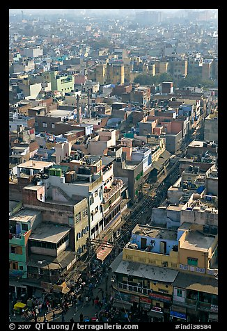 View of a Old Delhi street from above. New Delhi, India (color)