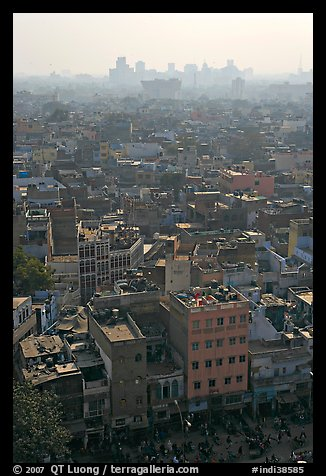 View of Old Delhi from above with high rise skyline in back. New Delhi, India (color)