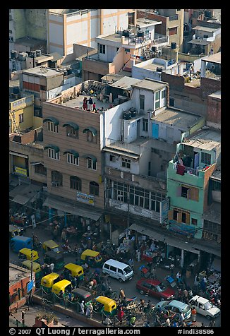 Street traffic and buildings from above, Old Delhi. New Delhi, India (color)