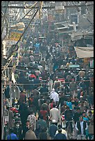 Crowds in Old Delhi street from above. New Delhi, India ( color)