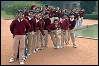 Group of schoolchildren, Humayun's tomb. New Delhi, India ( color)