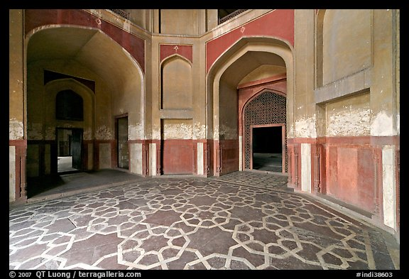South hall, Humayun's tomb. New Delhi, India (color)