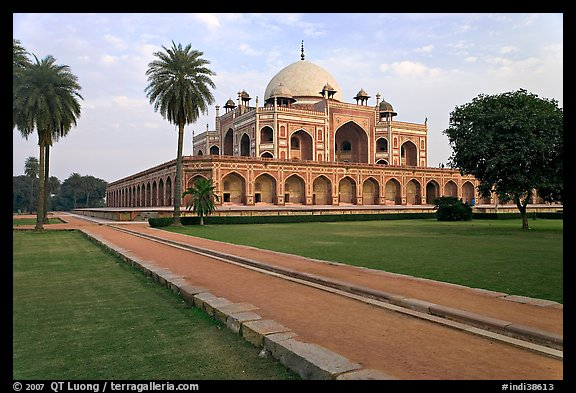 Mughal gardens and main mausoleum, Humayun's tomb. New Delhi, India (color)