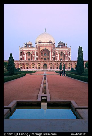 Humayun's tomb and watercourses at dusk. New Delhi, India (color)
