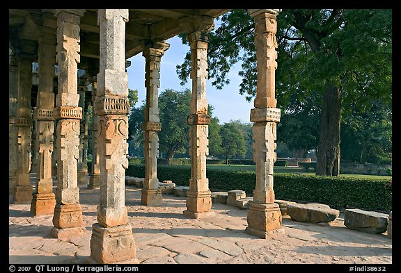 Colonade and gardens, Qutb complex. New Delhi, India (color)