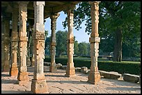 Colonade and gardens, Qutb complex. New Delhi, India ( color)