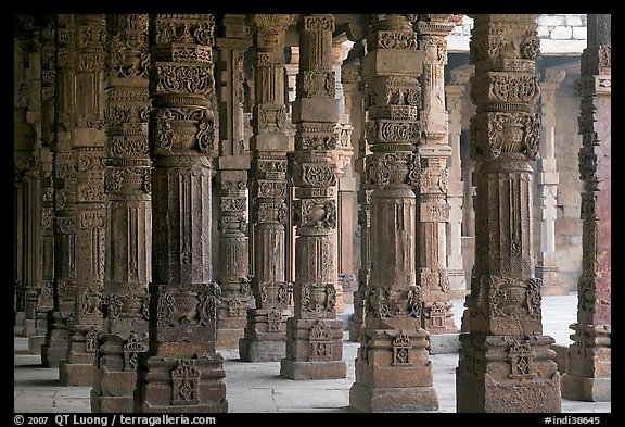 Colonade around  Quwwat-ul-Islam mosque, Qutb complex. New Delhi, India (color)
