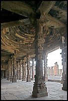 Columns and courtyard, Quwwat-ul-Islam mosque, Qutb complex. New Delhi, India ( color)