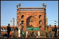 Early morning activity under Jama Masjid East Gate. New Delhi, India ( color)