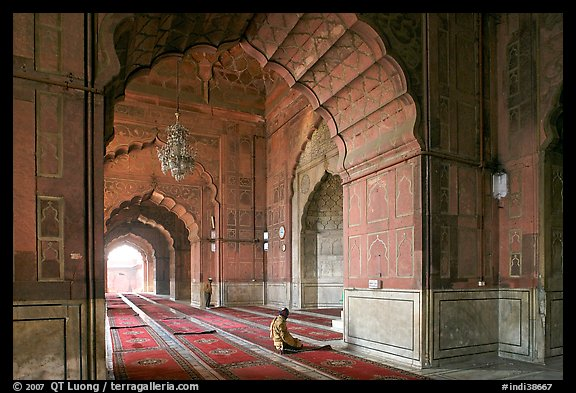 Men in prayer, prayer hall, Jama Masjid. New Delhi, India (color)