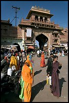 Women in front of Sardar Market gate. Jodhpur, Rajasthan, India ( color)