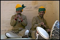 Flute and drum players, Mehrangarh Fort. Jodhpur, Rajasthan, India (color)